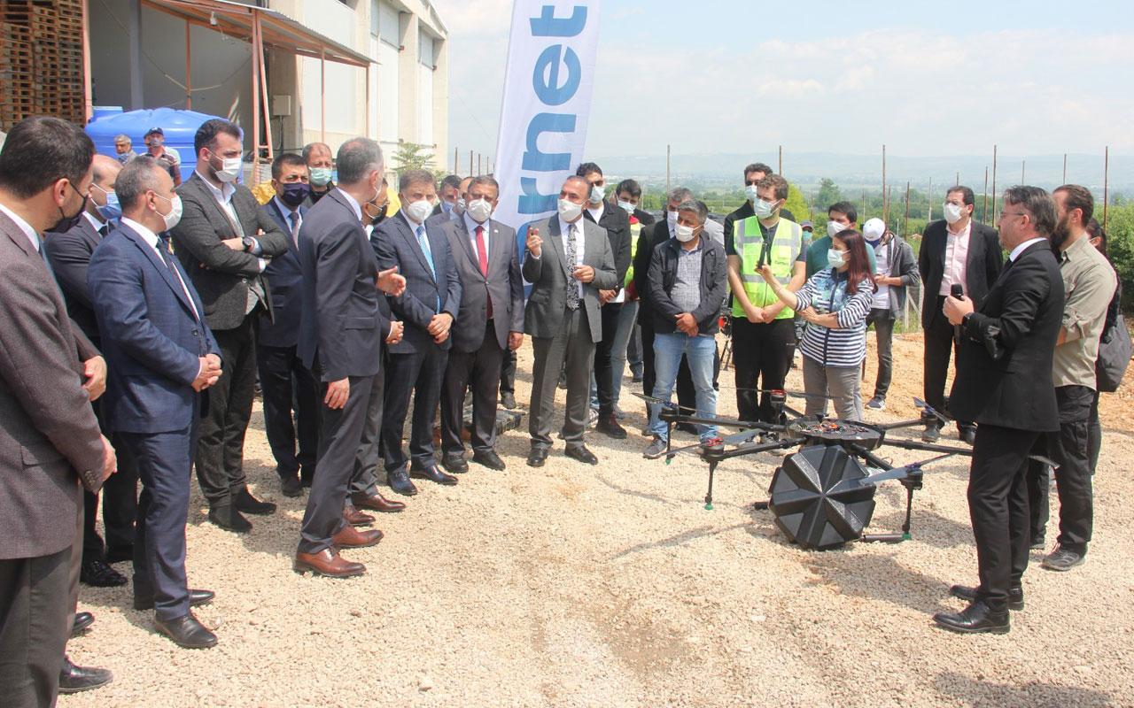 Bursa İnegöl'de meyve bahçeleri İHA ile ilaçlanacak