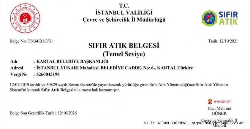 KARTAL BELEDİYESİ'NE SIFIK ATIK BELGESİ