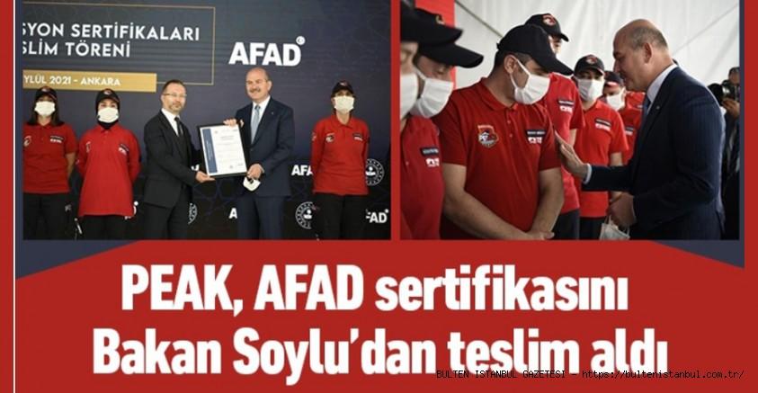 PEAK, AFAD SERTİFİKASINI BAKAN SOYLU'DAN TESLİM ALDI