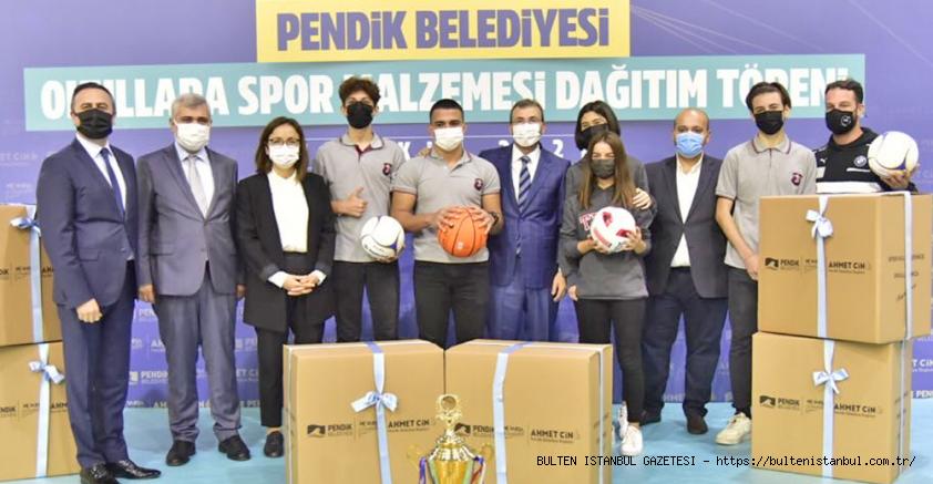 PENDİK BELEDİYESİ'NDEN OKULLARA SPOR MALZEMESİ DESTEĞİ