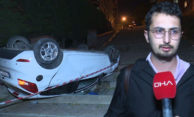 Ümraniye'de sürücüsünün navigasyona uyarak merdivenli sokağa girdiği otomobil takla attı
